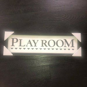 Kids Play Room Wooden Wall Decor Sign Black White